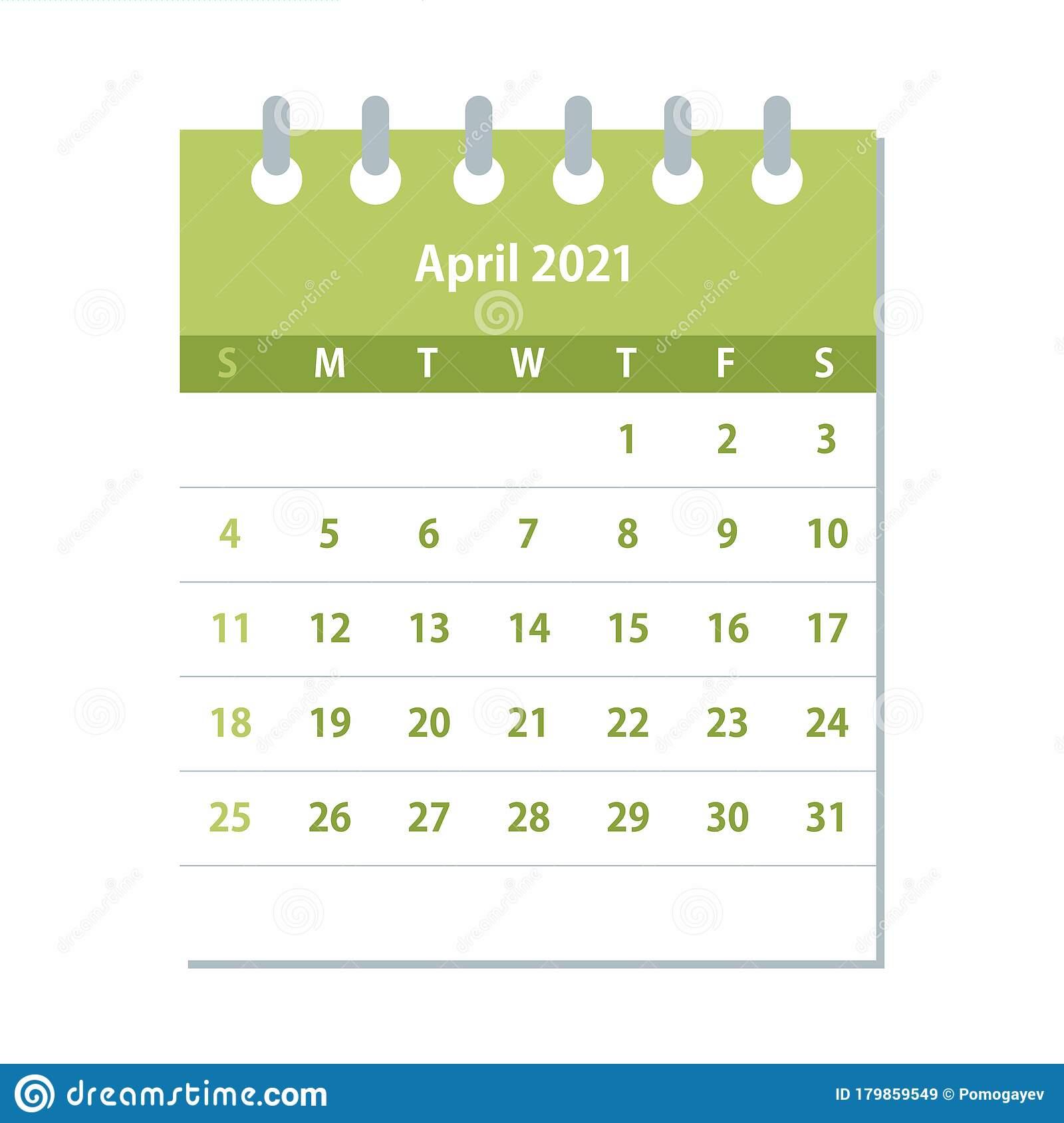April 2021 Calendar Leaf. Monthly Calendar Design Template
