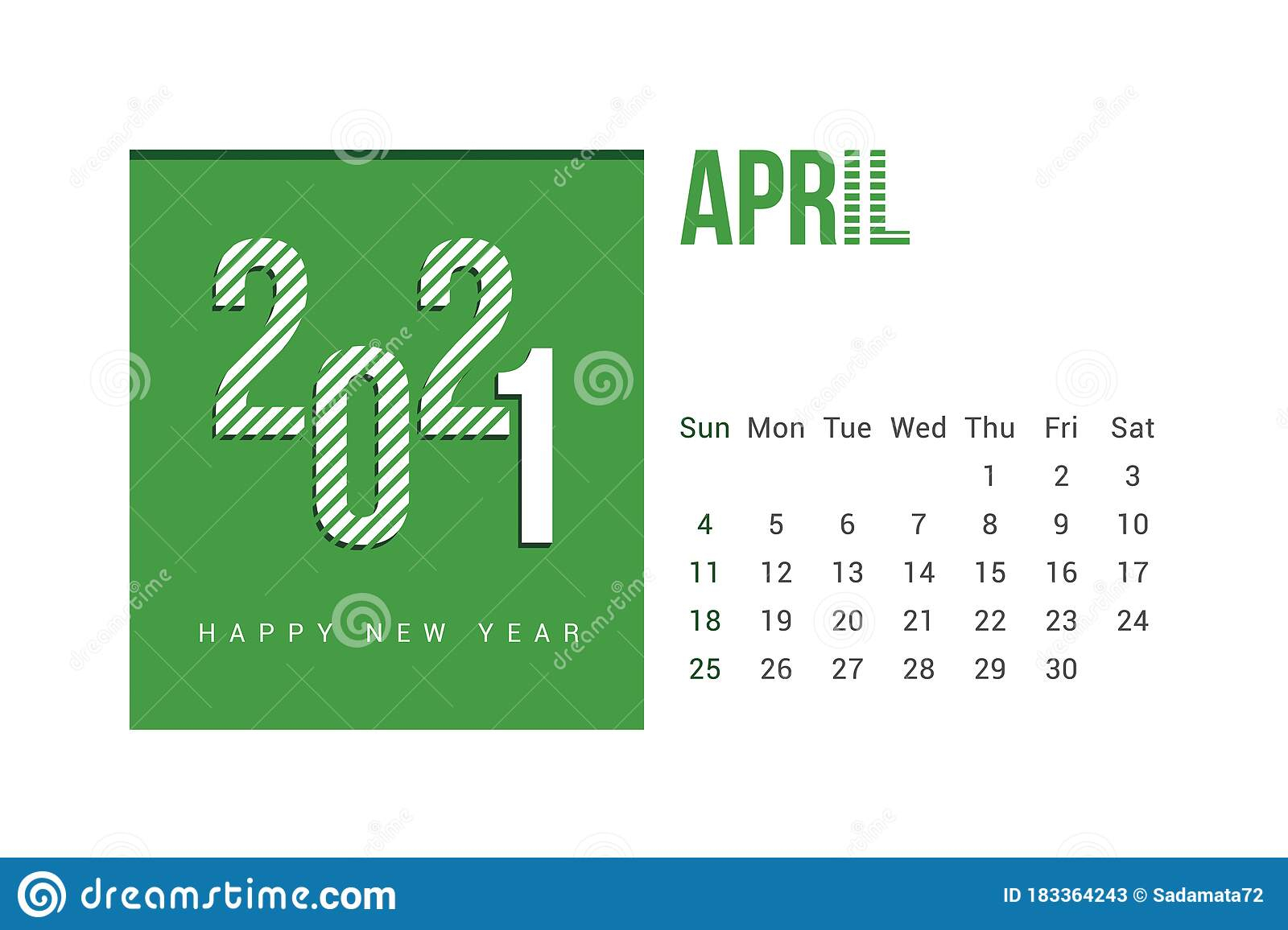 April 2021 Calendar Template Design With White Background
