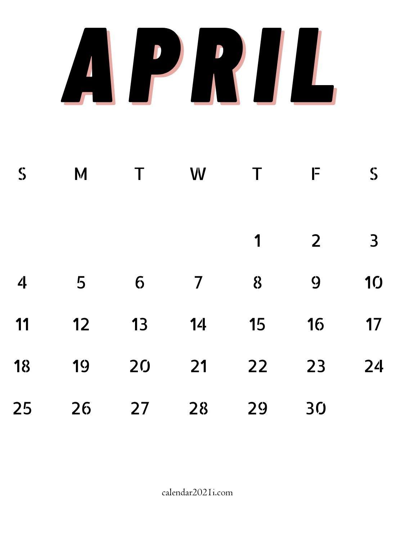 April 2021 Minimalist Calendar Design Template Free