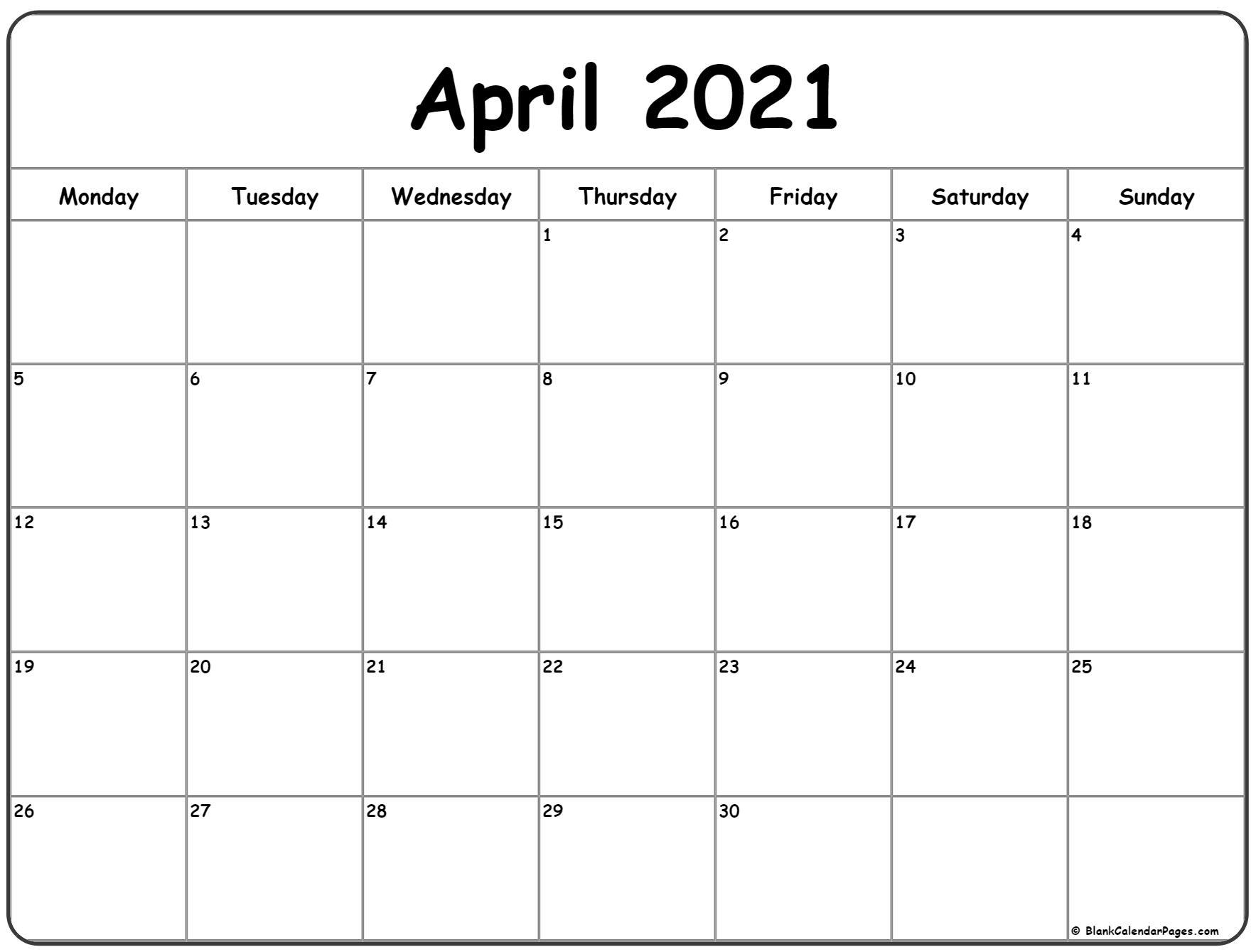 April 2021 Monday Calendar | Monday To Sunday