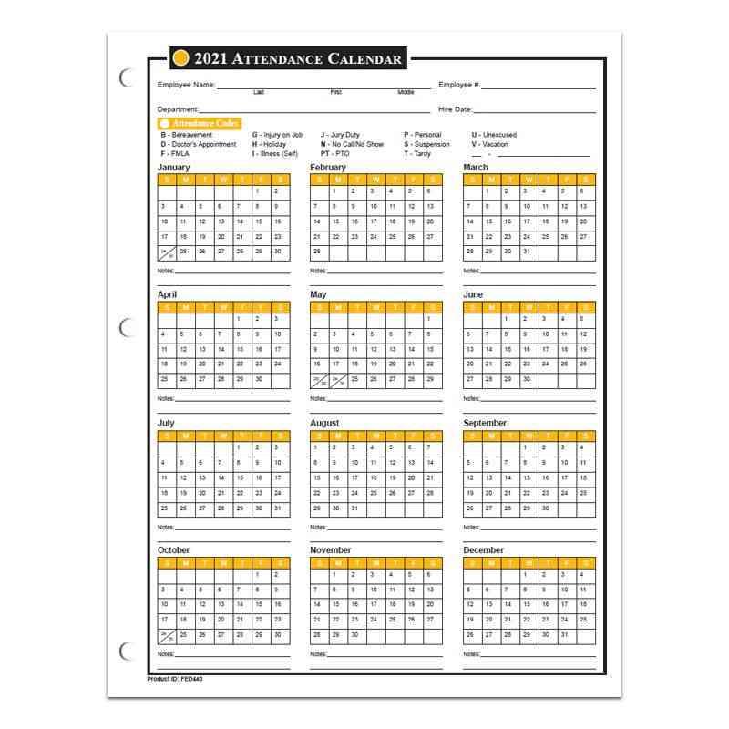 Attendance Calendar For 2020 From Laborlawcenter