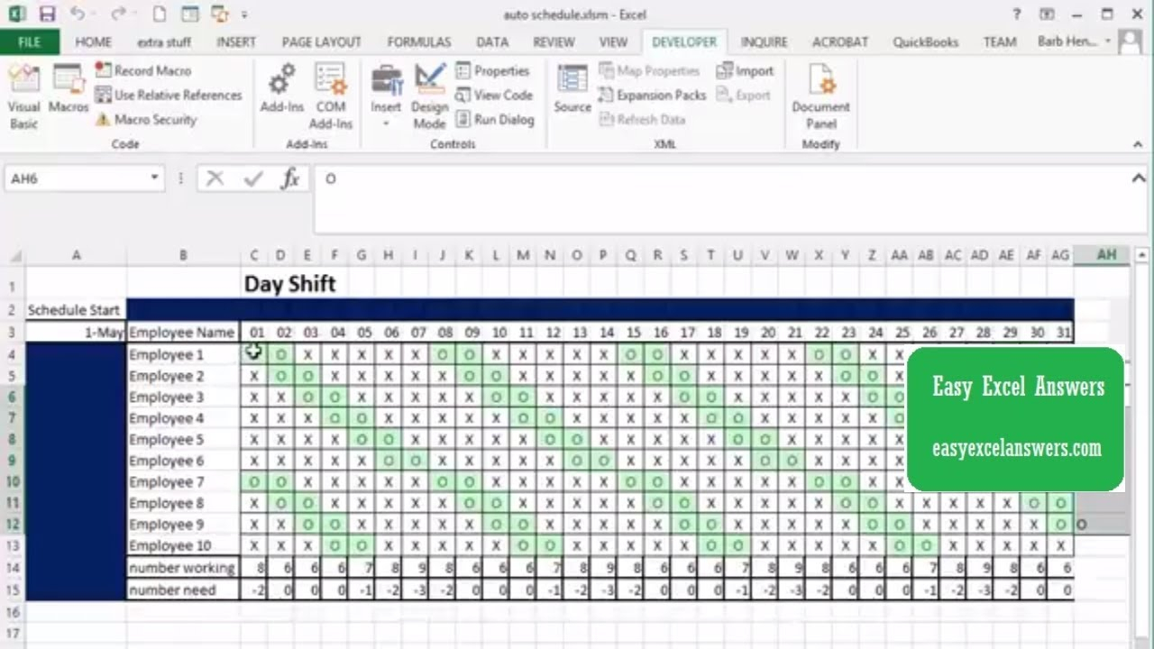 Automatically Create Shift Schedule In Excel - Youtube