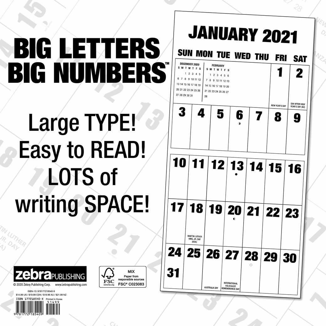 Big Letters, Big Numbers Calendar 2021 At Calendar Club