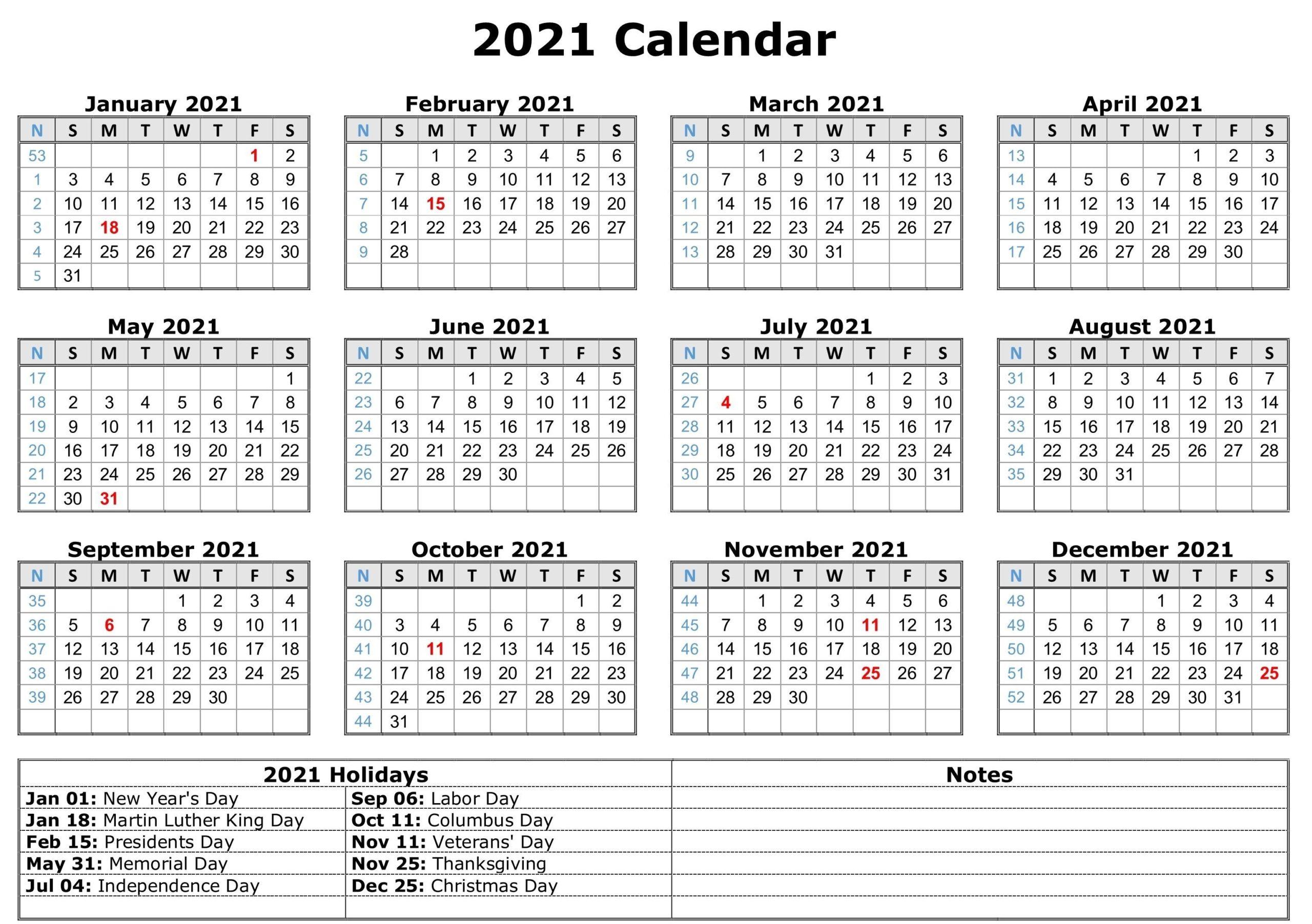 Blank 2021 Calendar Printable | Calendar 2021