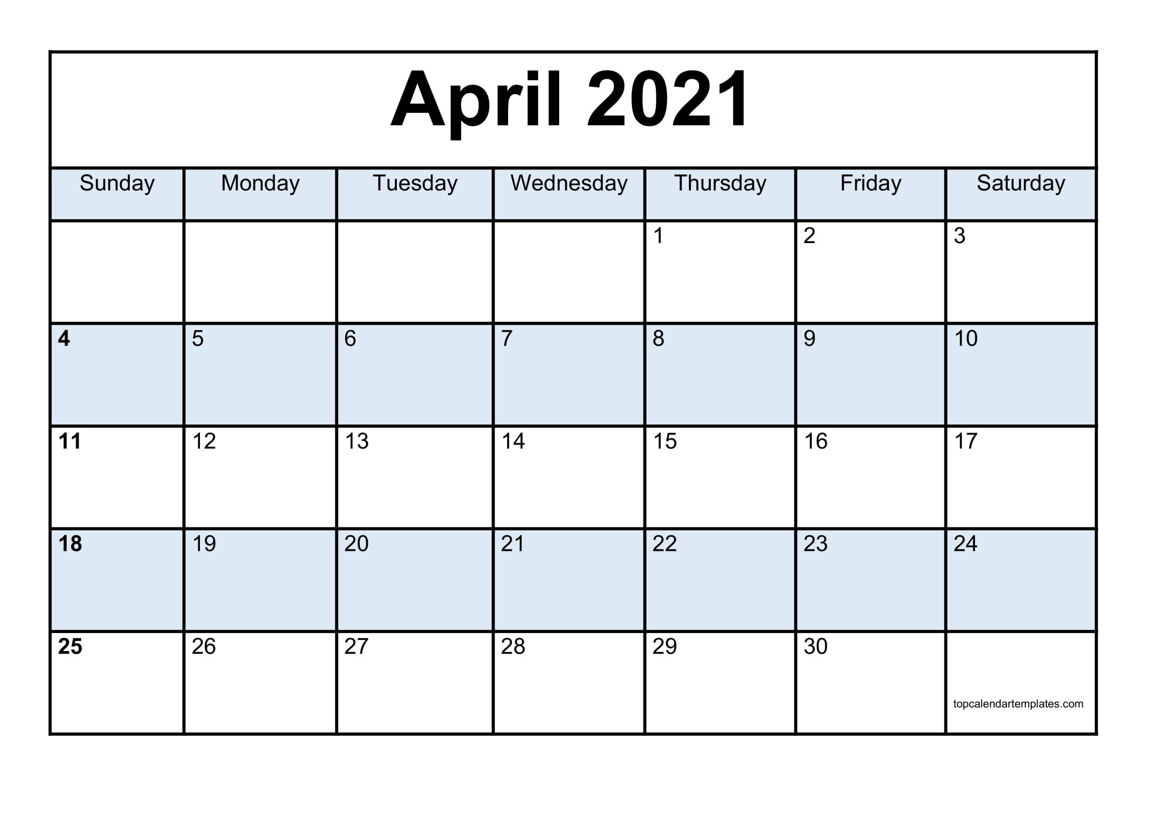 Blank April 2021 Calendar Template - Monthly Planner