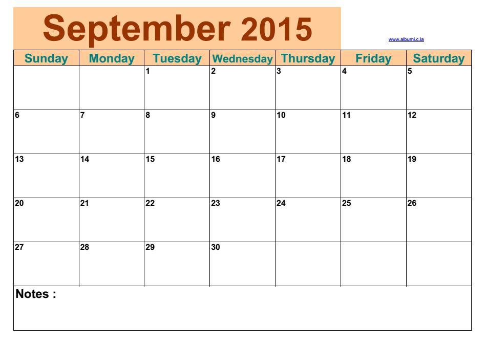 Blank Calendar September 2015 | 2016 Blank Calendar