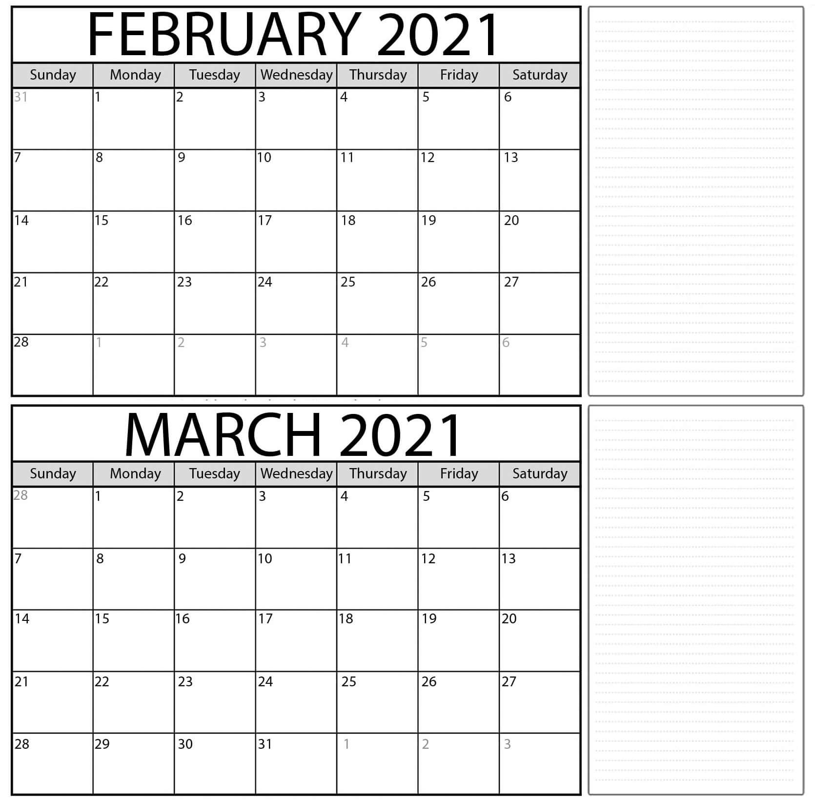 Blank February March 2021 Calendar Word With Notes - Web