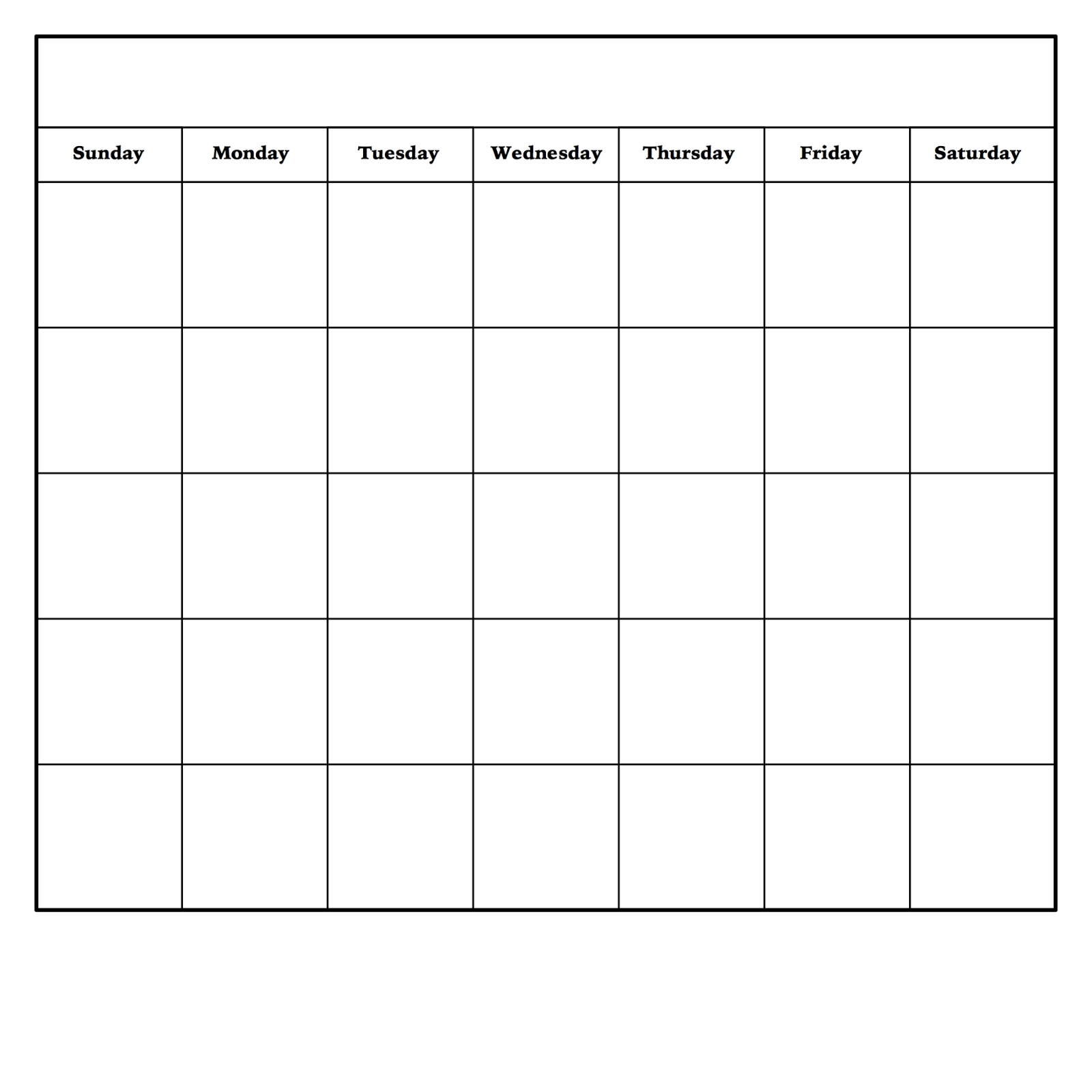 Monday To Friday Printable Monthly Calendar