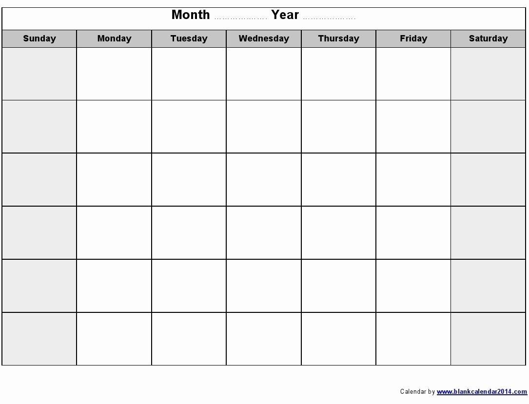 Blank Monday Through Friday Template | Ten Free Printable Calendar 2020-2021