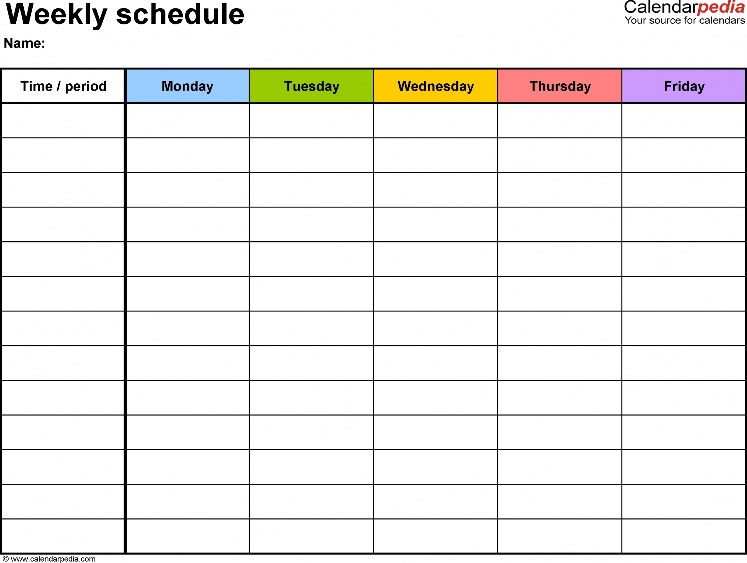 Blank Monday Through Friday Template   Ten Free Printable