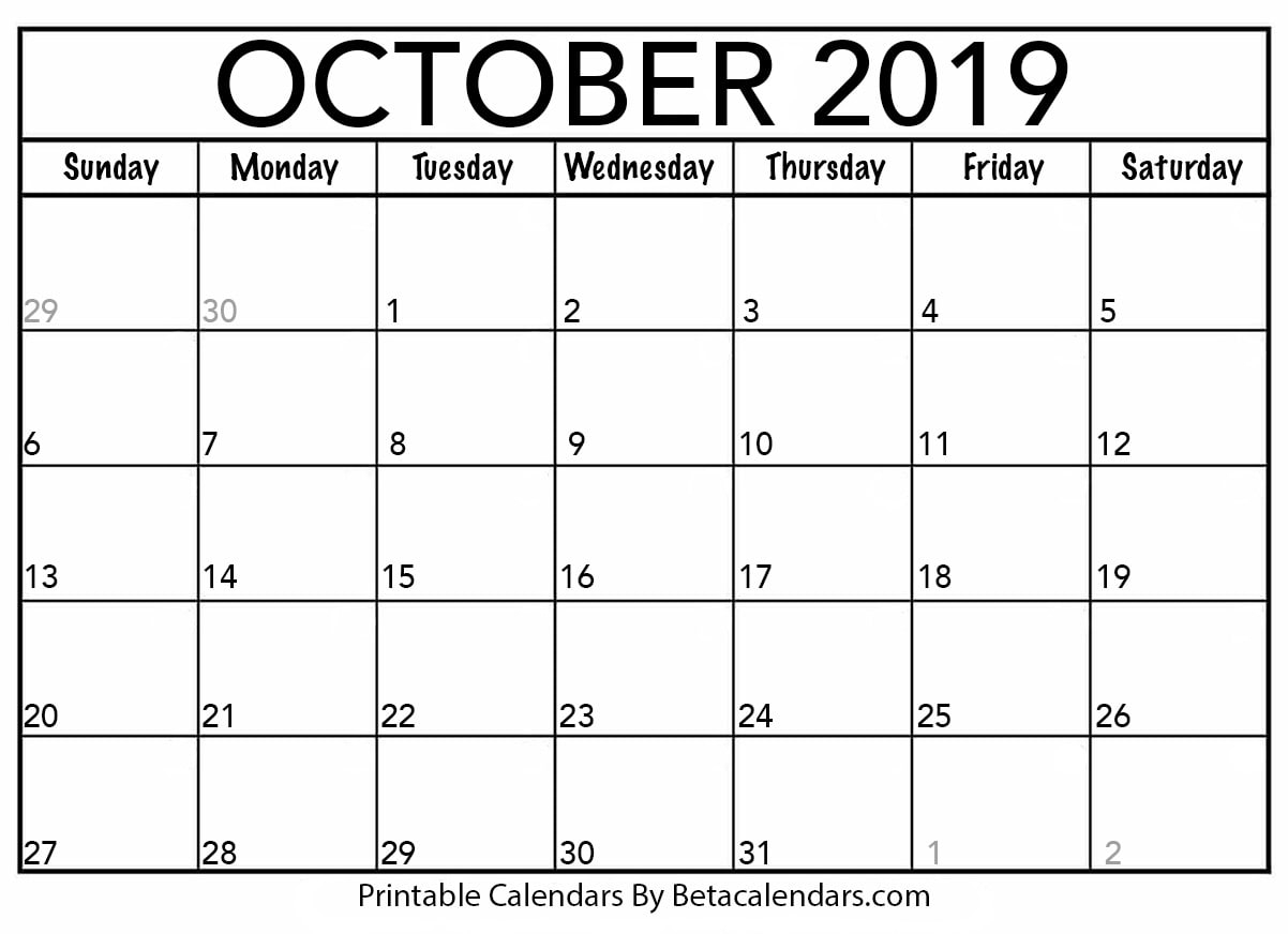 Blank October 2019 Calendar Printable - Beta Calendars