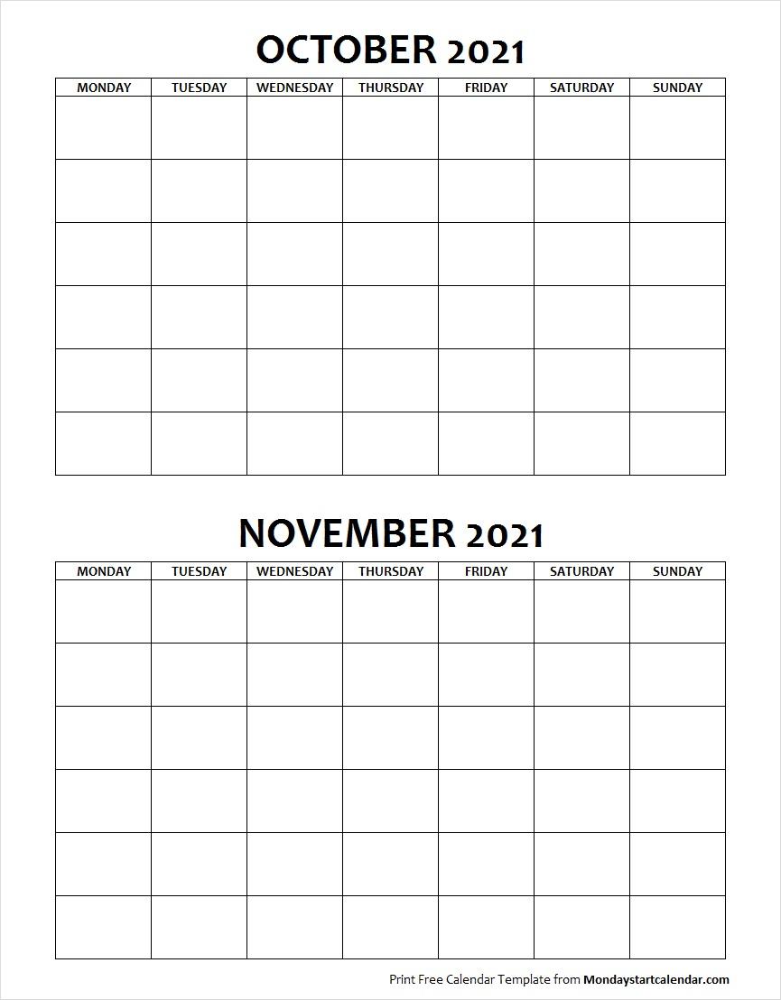 Blank October November 2021 Calendar Monday Start
