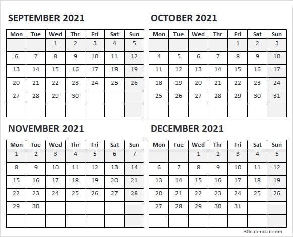 Blank September To December 2021 Calendar - Free 2021 Calendar