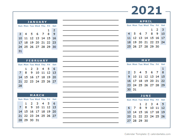 Blank Two Page Calendar Template For 2021 - Free Printable
