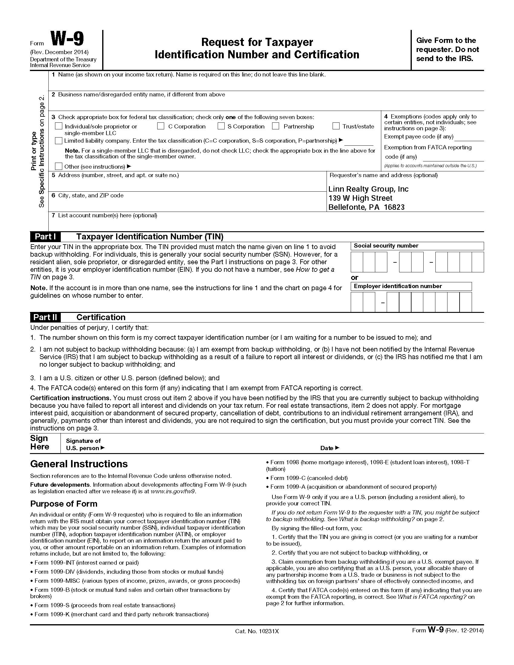 Blank W-9 Form 2020 Pdf | Calendar Template Printable