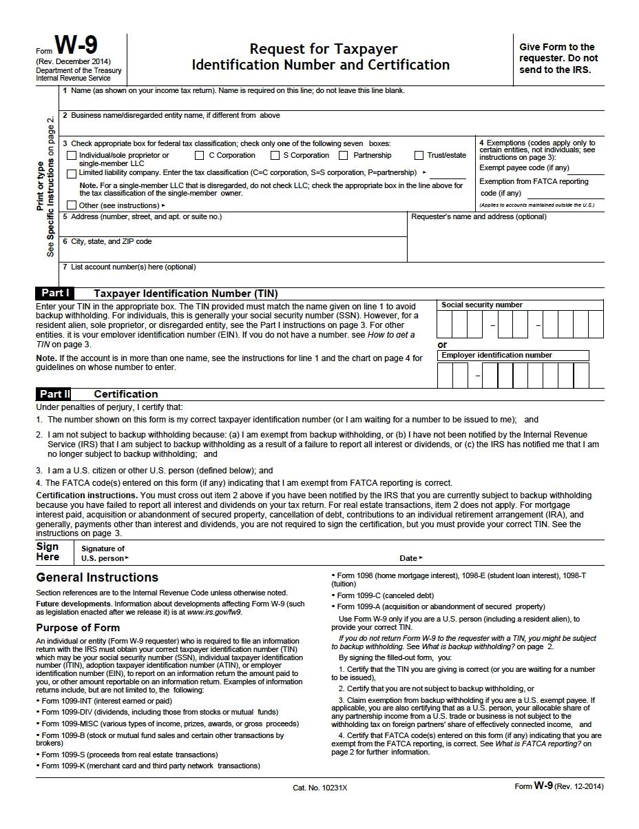 Blank W 9 Printable Form Template 2021 | Calendar Template