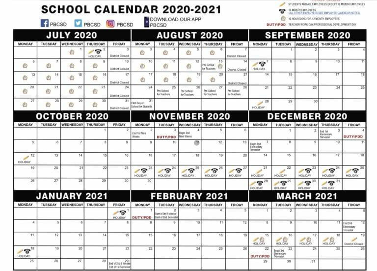 Broward County Public School Calendar 2021 | County School