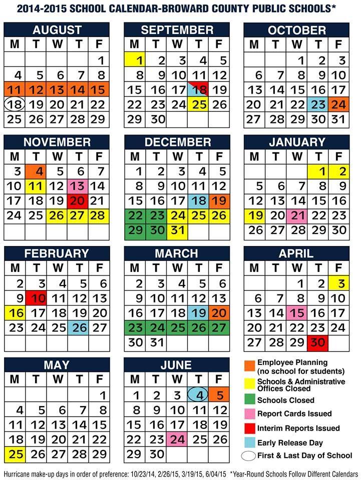 Broward County Schools 2014-2015 Calendar. | Broward