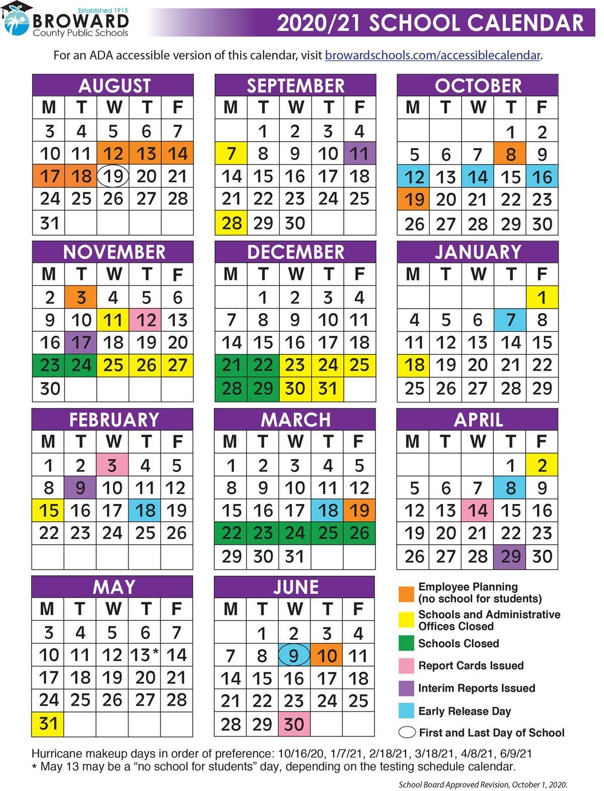 Broward School Calendar 2020 2021   2021 Printable Calendars