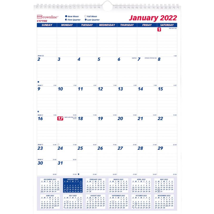 Brownline Ruled Block Monthly Wall Calendar - Julian Dates