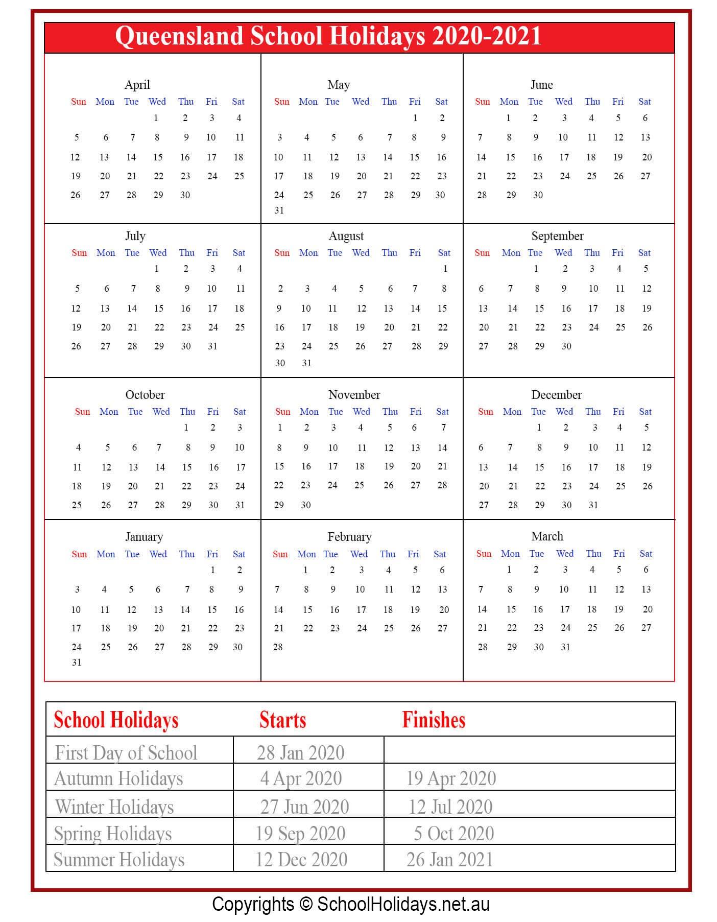 Calander 2021 Queensland Punlic Holidays | Calendar