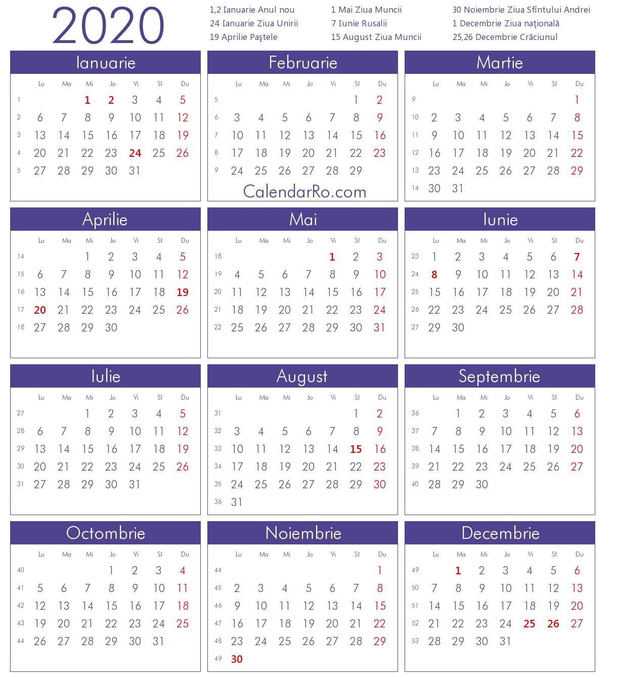 Calendar 2020 Pdf Romania - Calendario 2019