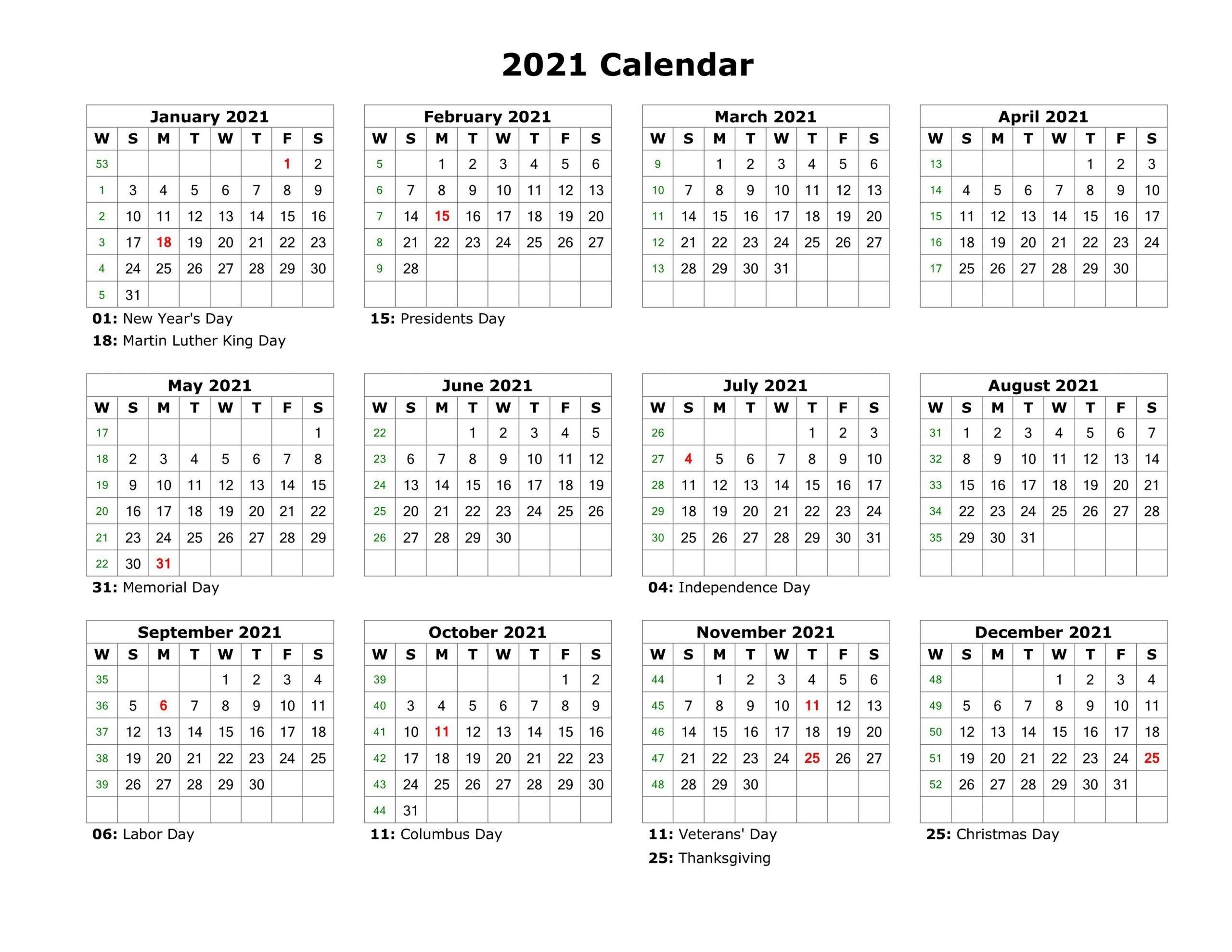 Calendar 2021 - 2021 Free | Calendar Template 2021