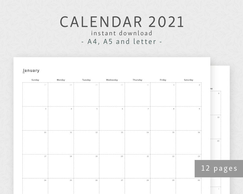Calendar 2021 A4 A5 Letter Dated Monthly Calendar Year   Etsy