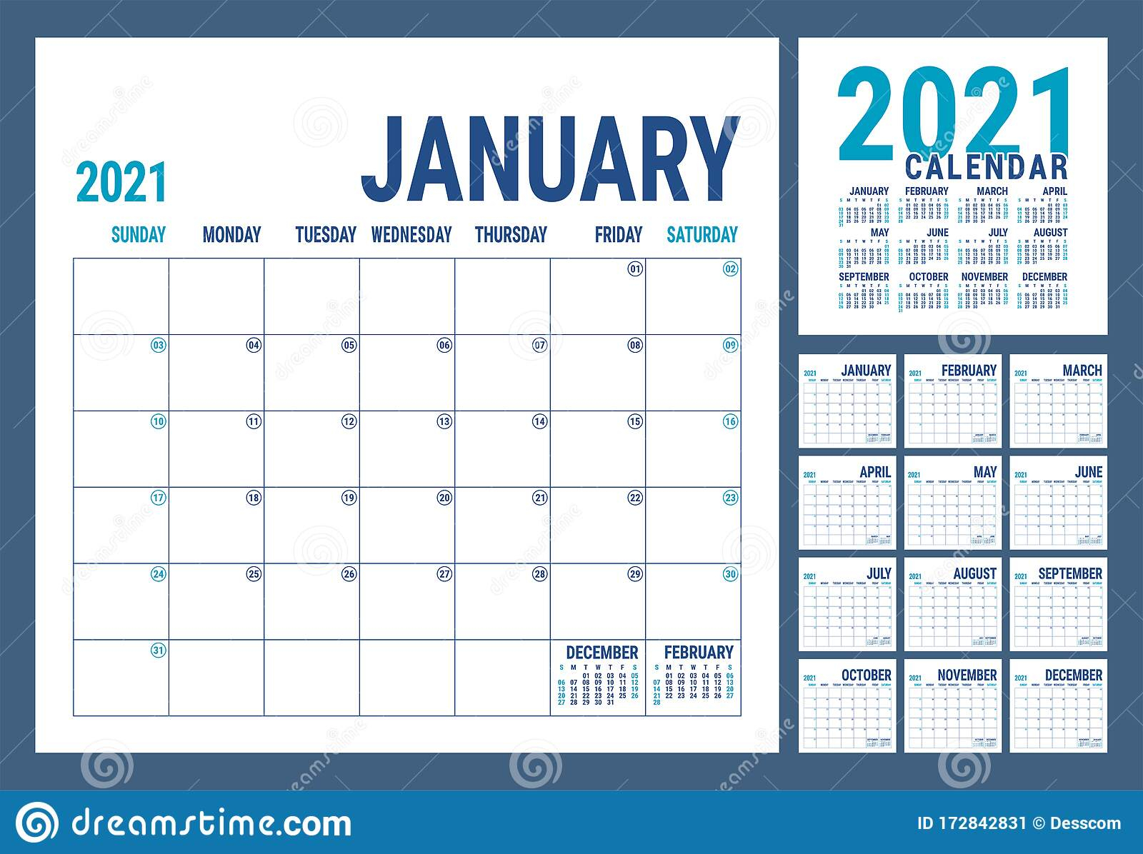 Calendar 2021. English Calender Template. Vector Square Grid. Office Business Planning. Creative