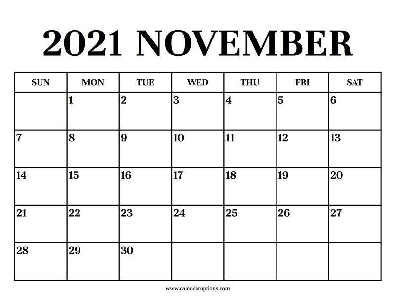 Calendar 2021 November - Calendar Options
