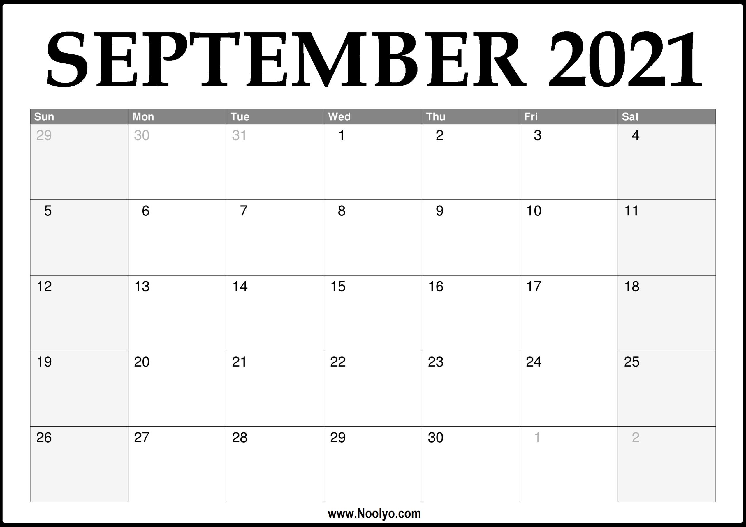 Calendar 2021 September | Printable Calendars 2021