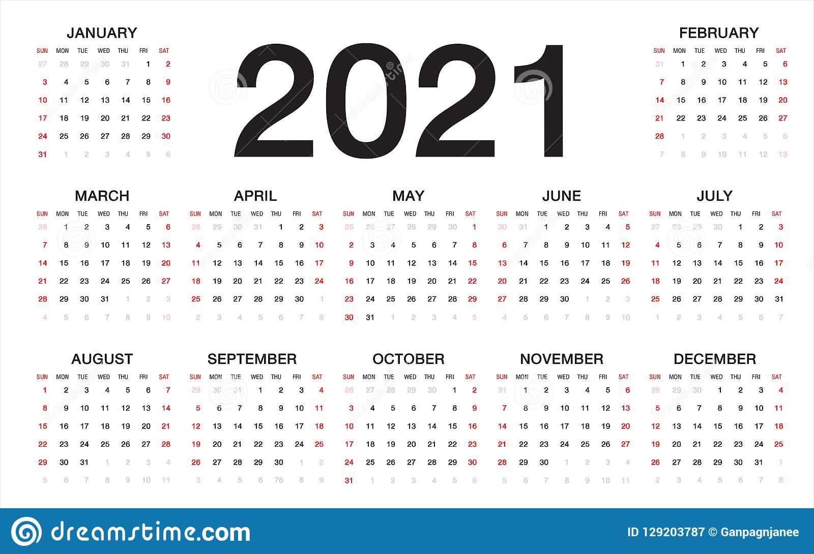 Calendar 2021, Week Starts From Sunday, Business Template
