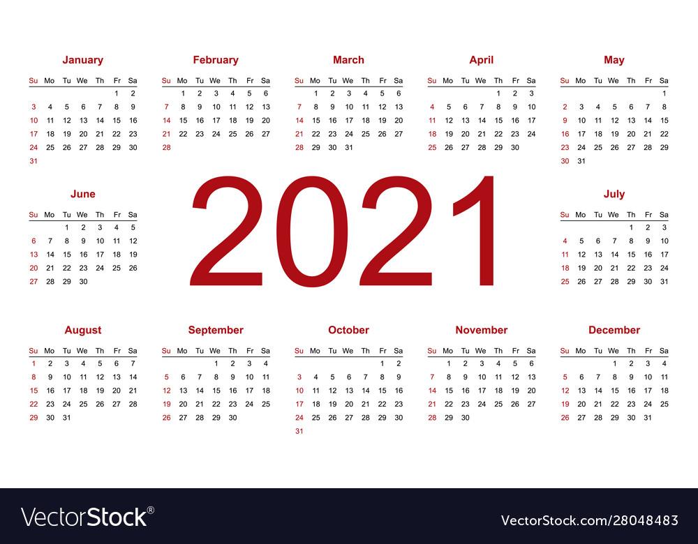 Calendar 2021 Week Starts From Sunday Business Vector Image