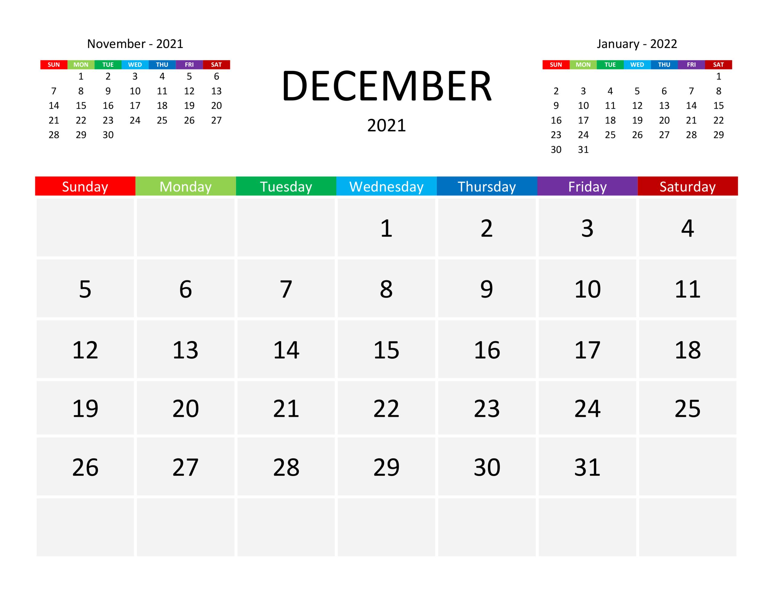Calendar For December 2021 - Free-Calendar.su