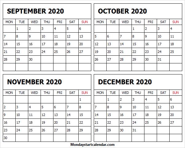 Calendar September October November December 2020 Editable