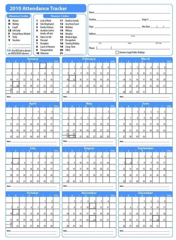 Calendar Template Employee Attendance Sheet Attendance