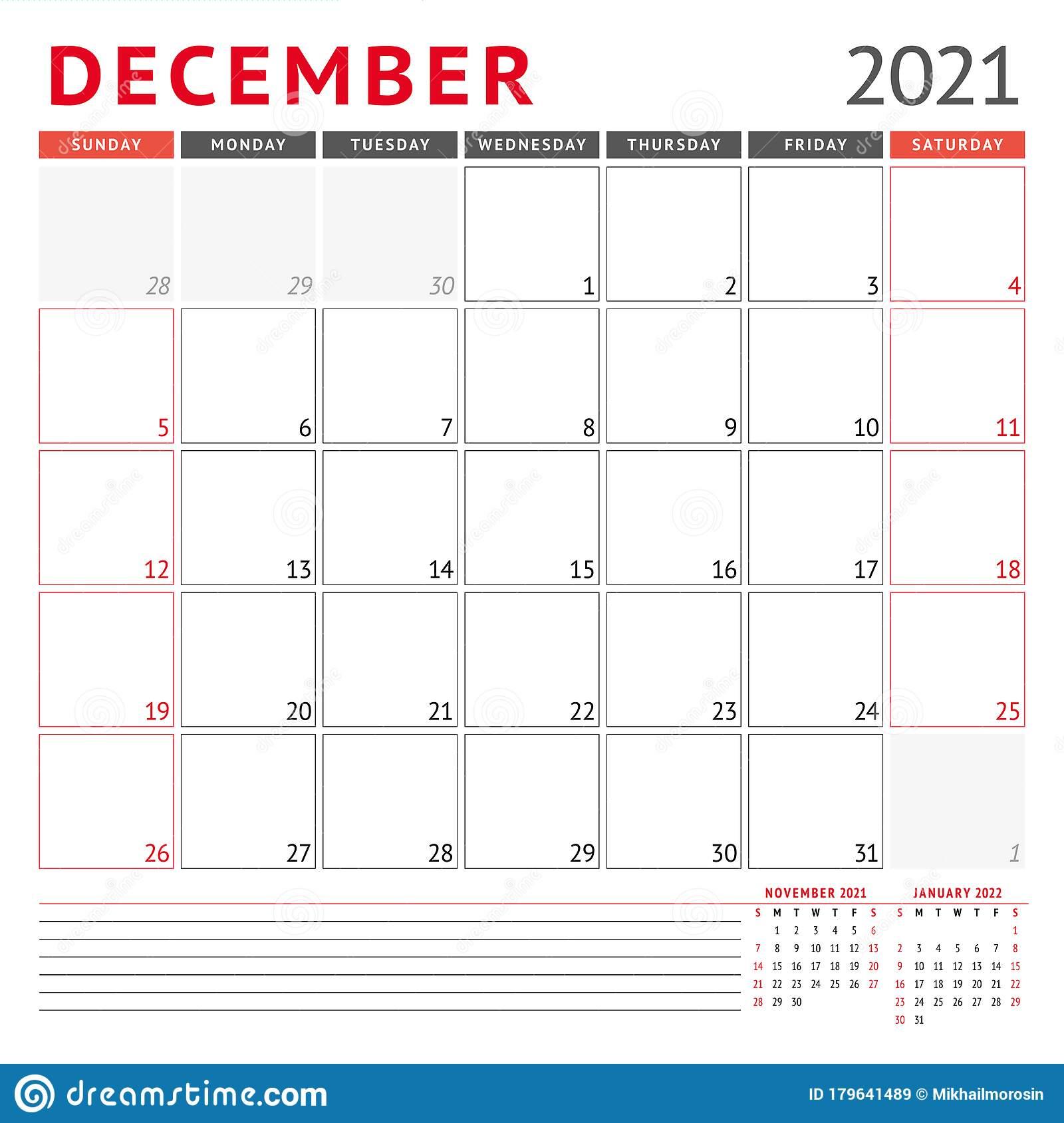 Calendar Template For December 2021. Business Monthly