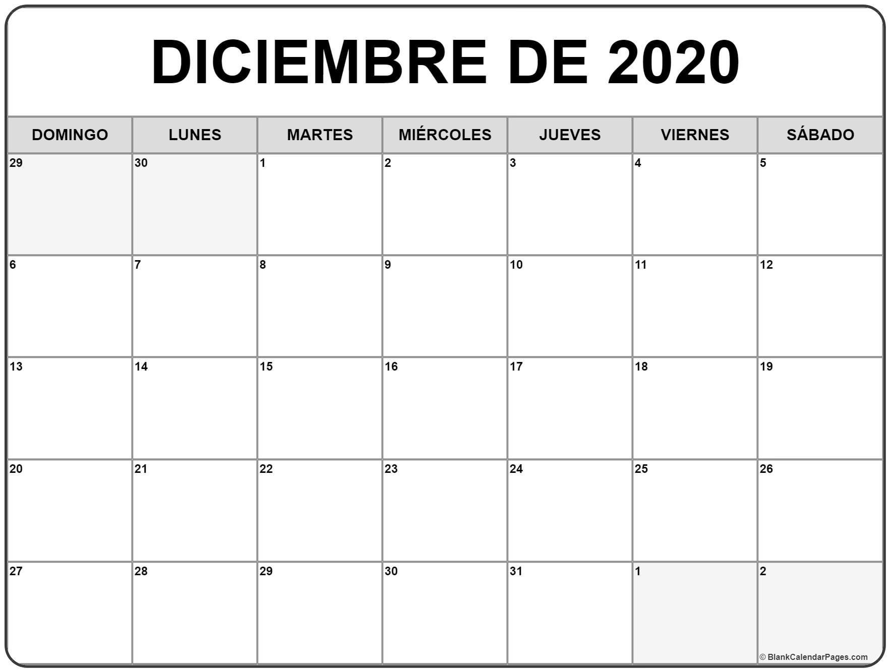 Calendario 2020 Diciembre - Calendario 2019