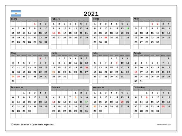 "Calendario ""Argentina"" 2021 Para Imprimir - Michel Zbinden Es"