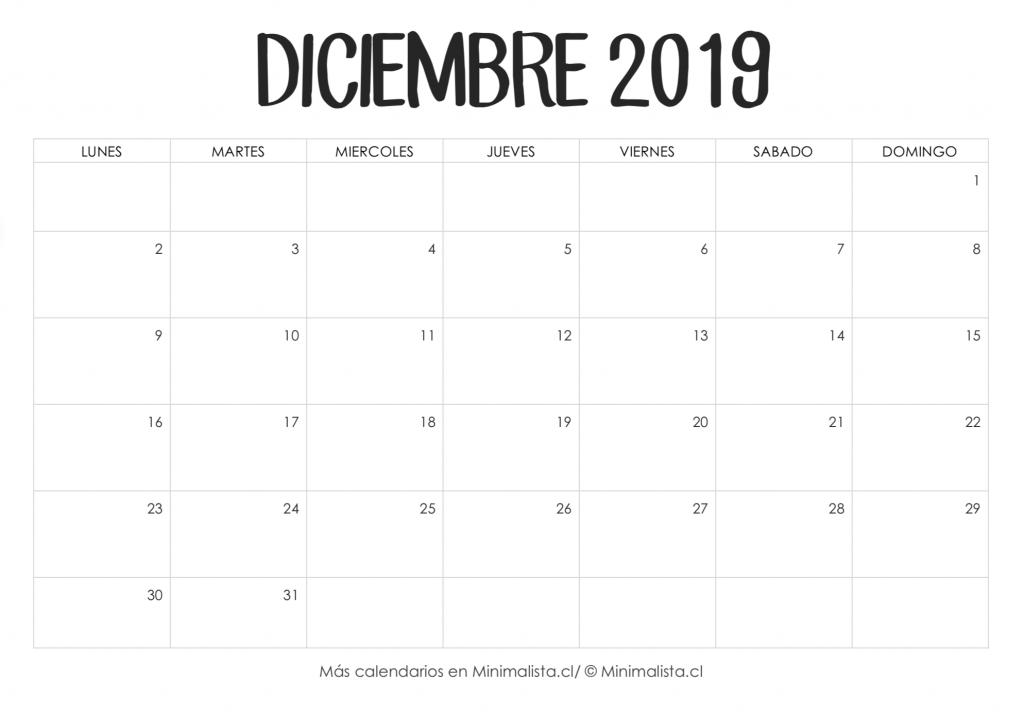 Calendario Diciembre 2019 Para Imprimir   Calendario De