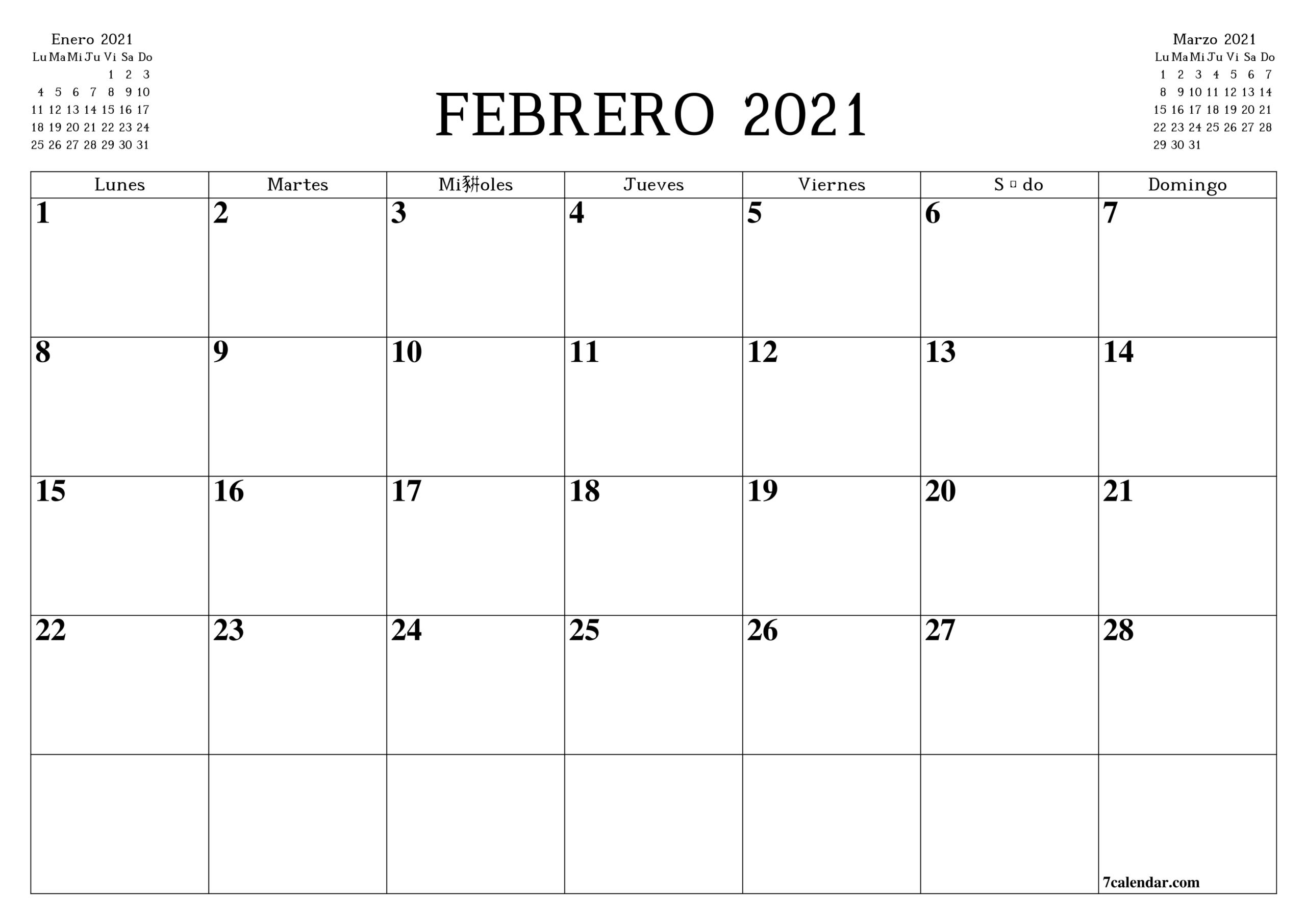 Calendario En Blanco Imprimible A4, A5 Y A3, Pdf Y Png