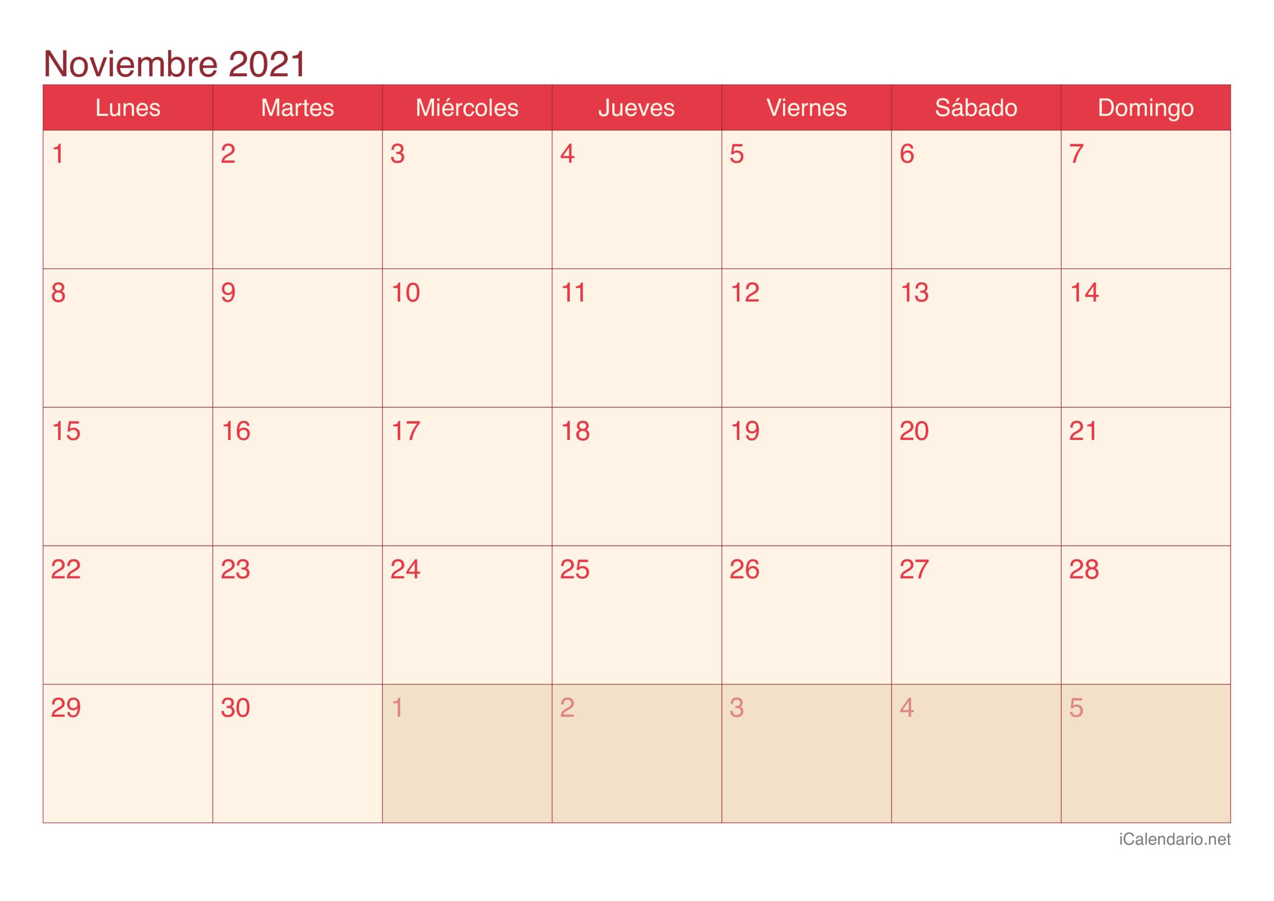 Calendario Noviembre 2021 Para Imprimir - Icalendario