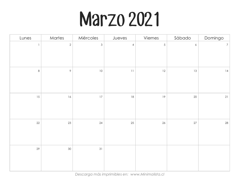 Calendarios 2021 Para Imprimir - Minimalista   Calendarios