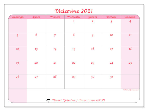 """Calendarios Diciembre 2021 """"Domingo - Sábado"""" - Michel"""