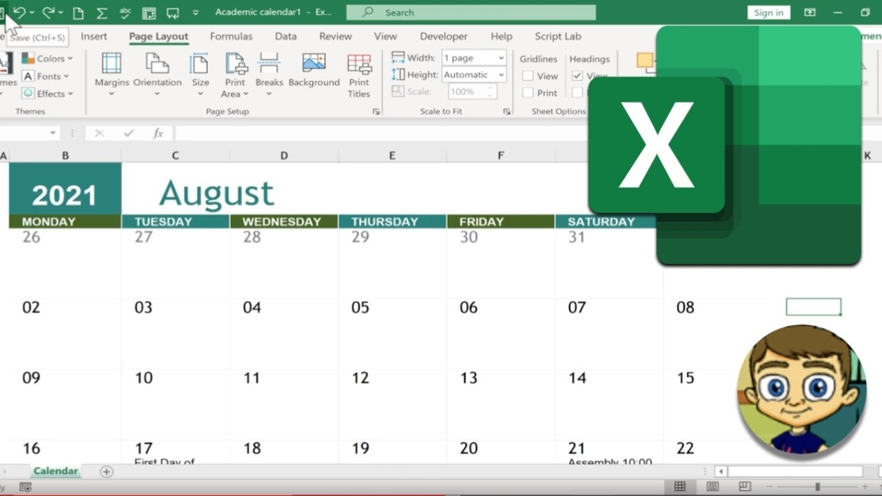 Calender In Excel 2021   Month Calendar Printable