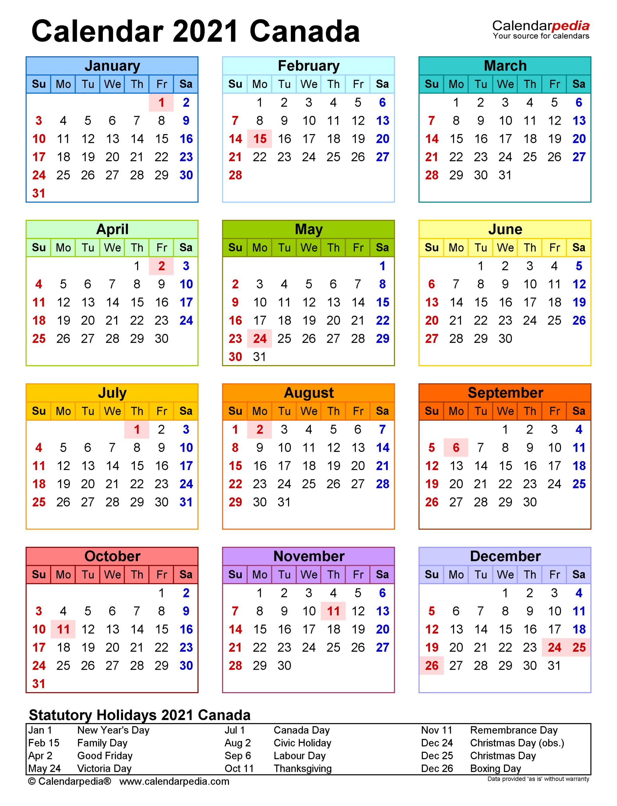 Canada Calendar 2021 Printable With Holidays   2021