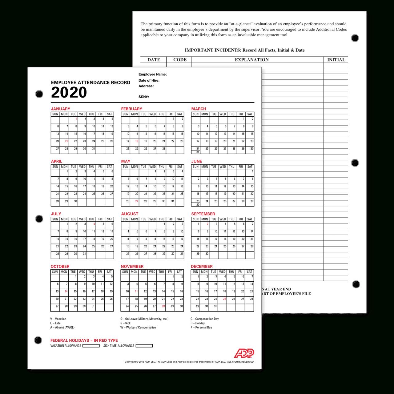 Catch 2020 Employee Attendance Calendar Printable