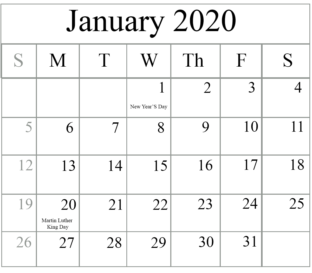 Catch Large Block January 2020 Printable Monthly Calendar