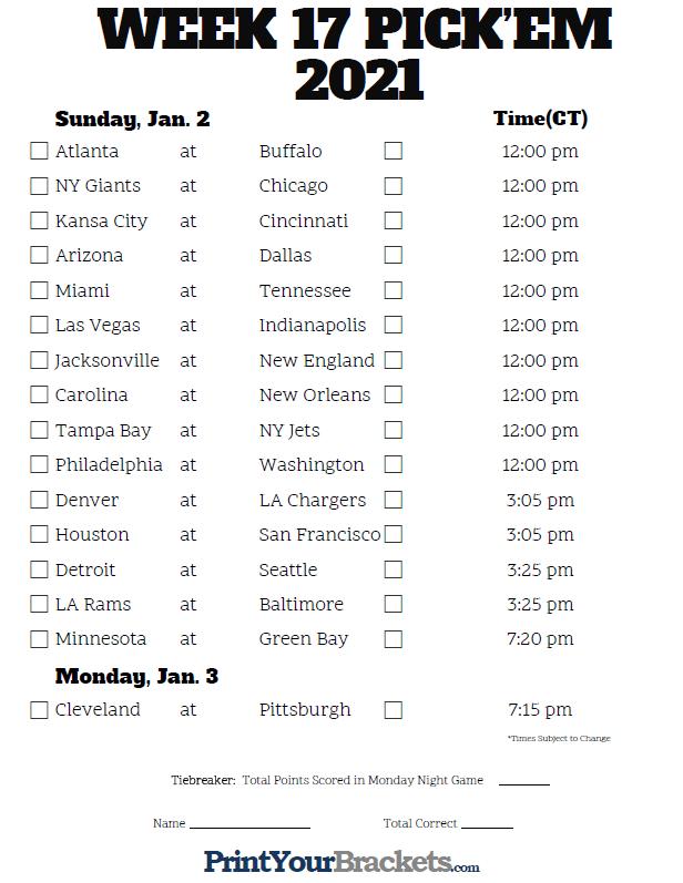 Central Time Week 17 Nfl Schedule 2020 - Printable