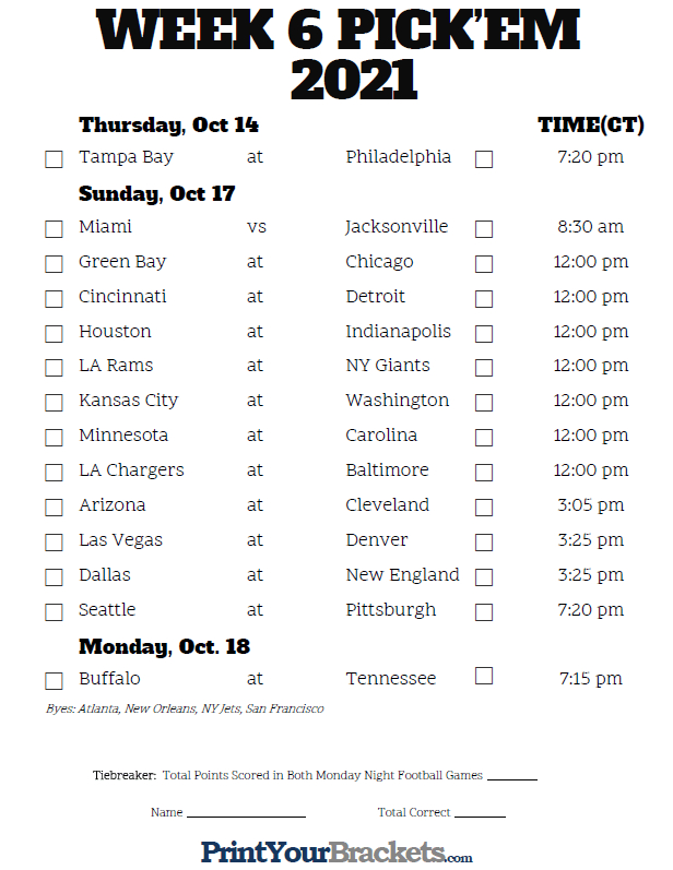 Central Time Week 6 Nfl Schedule 2020 - Printable
